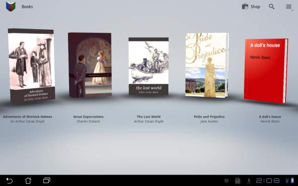 This is the Google Books home screen, complete with book covers in 3D view.