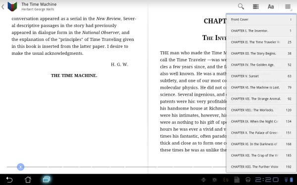 Navigating through chapters only involves opening this context menu and skipping to the desired part.