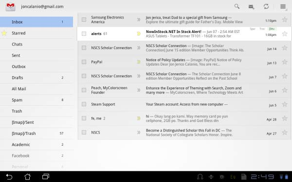 The GMail app is largely similar to its desktop cousin.