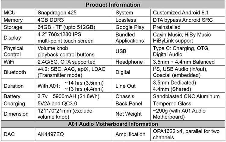 Cayin N6ii Specifications